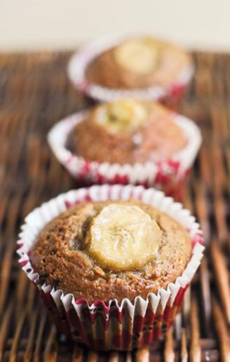 Muffinki bananowe z czekoladą i cappuccino.
