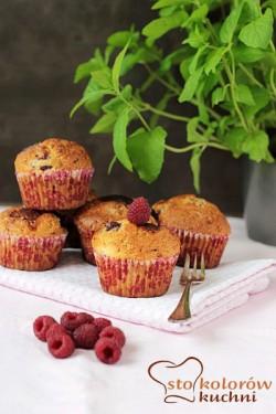 muffiny malinowe z białą czekoladą