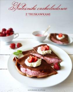 Naleśniki czekoladowe z serem i truskawkami