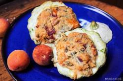 patison faszerowany vegan kasza jaglana, pomidory morele