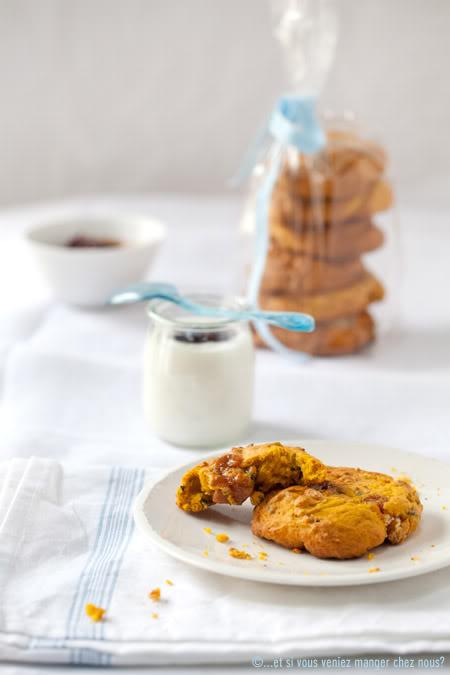 Pumpkin cookies z pistacjami, wanilią i krówkami