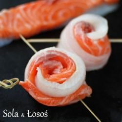roladki z soli i łososia