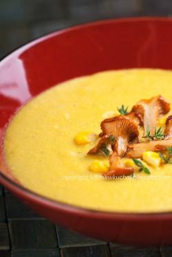Zupa kukurydziana z kurkami