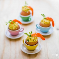 Curried eggs with prawns for Easter