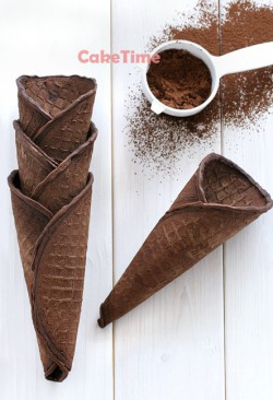 czekoladowe wafle do lodów