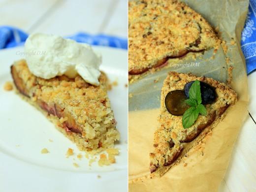 Kruche ciasto ze śliwkami i marcepanem