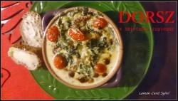 Zapiekany dorsz w sosie śmietanowo-szpinakowym