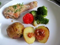 Kurczak zapiekany z ziemniakami i brokułami