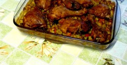 Kurczak pieczony z ziemniakami i marchewką
