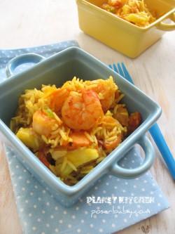 Krewetki na ryżu curry