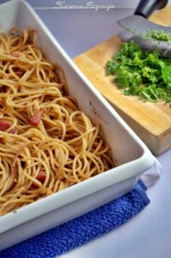 Spagetti z czosnkową oliwą i pancettą Nigelli