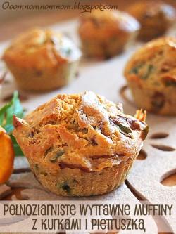 """Pełnoziarniste wytrawne muffiny z kurkami i pietruszką – pyszne muffiny w wersji """"na słono"""""""