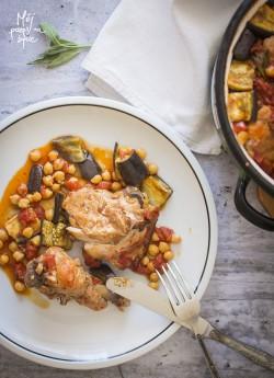 Casserole z kurczaka, pomidorów i bakłażana