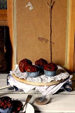 Muffiny potrójnie czekoladowe z malinami