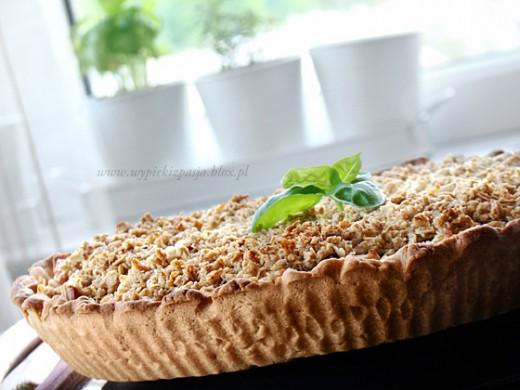 tarta (pie) jabłkowo rabarbarowa z owsianą kruszonką