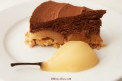 Ciasto z musem czekoladowym i gruszkami