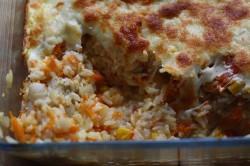 Lekka zapiekanka z rybą, ryżem i mozzarellą