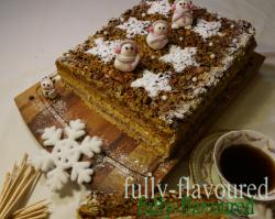 Miodownik z masą serowo żurawinową i czekoladową pod kruszonką pistacjowo-dyniową