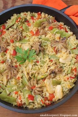 "Ryż z ośmiorniczkami i fasolą ""Garrafón"""