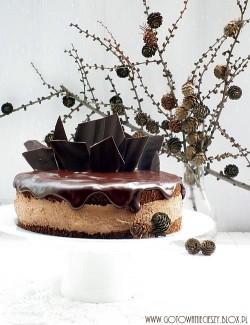 Tort makowy z musem czekoladowym na mascarpone