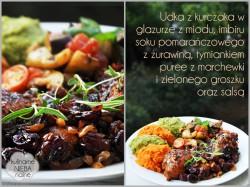 Udka z kurczaka w glazurze z miodu, imbiru, soku pomarańczowego, puree z groszku i marchewki oraz salsa