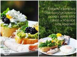 Kanapki z kremową pastą bazyliowo-groszkową z serem feta, jajkiem w koszulce oraz kawiorem