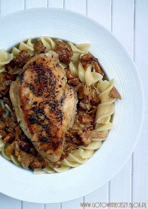 Kurczak w tymianku zapiekany w kurkach