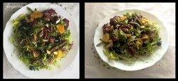 Sałatka z pomarańczą, borówką, orzechami i kurczakiem w sosie winegret miodowym / Salad with orange, blueberries, nuts and chicken in sauce honey vinaigrette